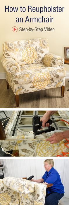 Follow our step-by-step video instructions and learn how to reupholster an armchair.