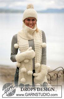 """Gorro, bufanda y guantes DROPS en """"Eskimo"""" ~ DROPS Design"""