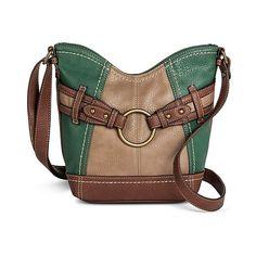Brimfield Tulip Crossbody Handbag, Green ($35) ❤ liked on Polyvore featuring bags, handbags, shoulder bags, green, handbags & purses, handbags crossbody, purse tote, green tote bag ve crossbody tote bag