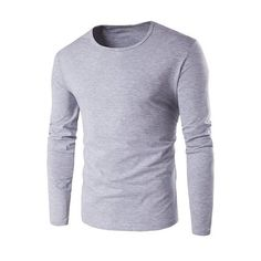 Slim Fit Round Neck Long Sleeve T Shirt (795 MKD) ❤ liked on Polyvore featuring men's fashion, men's clothing, men's shirts, men's t-shirts, mens long sleeve t shirts, mens slim fit t shirts, mens slim shirts, mens slim t shirts and mens longsleeve shirts