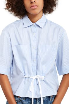 Palmer Harding, Pinstripe Wide-Sleeve Top , Oversized chest pockets, Loop-through grosgrain waist belt, Spread collar, Front button closure, Back box pleat, 100% cotton, Imported