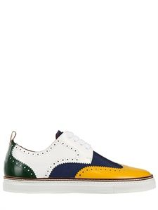 DSQUARED - TECH NYLON AND LEATHER BROGUE SNEAKERS - LUISAVIAROMA - LUXURY SHOPPING WORLDWIDE SHIPPING - FLORENCE