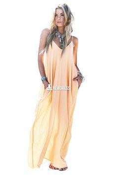 Fashion Ladies Women Sexy V-Neck Strap Loose Casual Beach Chiffon Long Maxi Dress