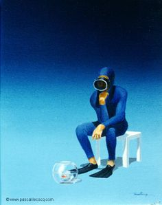 """COGITATOR PISCARIUS – The thinker and the fish – oil on canvas by Pascal Lecocq The Painter of Blue 9 """" x 7 """" 1995 Private collection Pittsburg NH.pascal lecocq From The Thinker by A. Art Cart, Oct 11, Social Art, Auguste Rodin, Fish Oil, Muay Thai, Paris France, Pittsburgh, Hong Kong"""