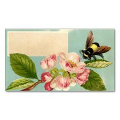 Vintage Bee and Flower Calling Card Business Card