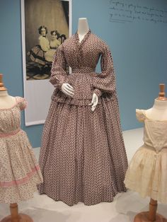 2012-08-25 KSMF - Red and plum zigzag striped cotton dress (American), circa 1860.