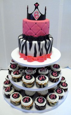 Hot pink, black, and white posh princess cupcake package