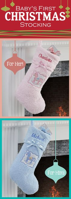 Awww these baby stockings are so cute! Perfect for baby's first Christmas!! #Baby #Christmas #Stockings