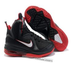 quality design 5b5a3 740d9 Air Foamposite Nike LeBron 9 Black White Sport Red  Nike LeBron 9 - Black  leather, synthetic leather, and mesh upper with red and white accents.
