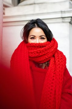 Lady in Red, Winter Edition Casual Dress Outfits, Fall Fashion Outfits, Winter Outfits, Red Scarf Outfit, Sweater Dress Boots, Knit Dress, Gros Pull Mohair, Wendy's Lookbook, Skirts With Boots
