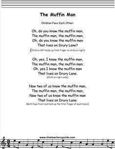 Muffin Man, printout, midi, and video. Silly Songs, Baby Songs, Fun Songs, Songs To Sing, Preschool Poems, Kindergarten Songs, Kids Poems, Children Songs, Nursery Rhymes Lyrics