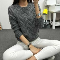 Loose pullovers Sweaters Women's thicker section casual Long-sleeved Knit sweater Christmas Pull femme female slim Warm 329