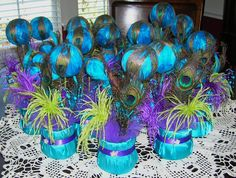 Peacock Centerpieces | Peacock Wedding Reception Table Centerpiece by sljbridal on Etsy