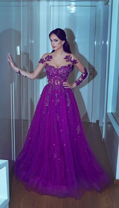 Purple Sheer Crew Long Sleeve Lace Appliques Sheer #prom #promdress #dress #eveningdress #evening #fashion #love #shopping #art #dress #women #mermaid #SEXY #SexyGirl #PromDresses