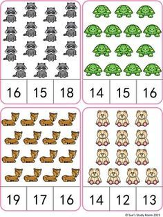 Animals Count and Clip Cards (Numbers - Todo Sobre Kindergarten Numbers Kindergarten, Numbers Preschool, Kindergarten Math Worksheets, Math Numbers, Preschool Math, Math Games, Preschool Activities, English Games For Kids, Maternelle Grande Section