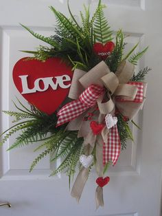 Valentine Wreath Big Red Heart LOVE Sign Red