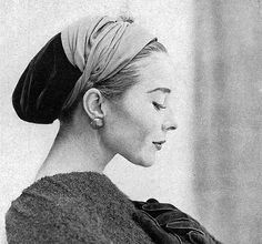 Bettina is wearing a cap of velvet and jersey by Givenchy, photo by Frances McLaughlin-Gill, Vogue Sept. 1957