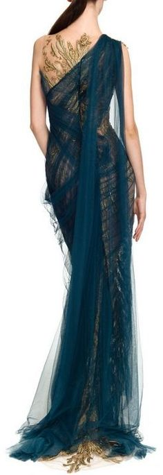 Marchesa Blue Embroidered Illusion Tulle Column Gown