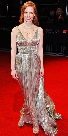 Oscar de la Renta's Most Showstopping Red Carpet Moments | JESSICA CHASTAIN | At the 2008 BAFTAs