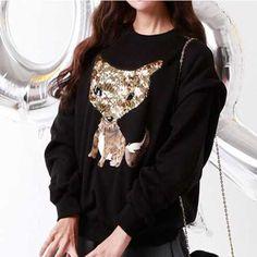 Sequin fox sweatshirt for girls pullover black sweatshirts