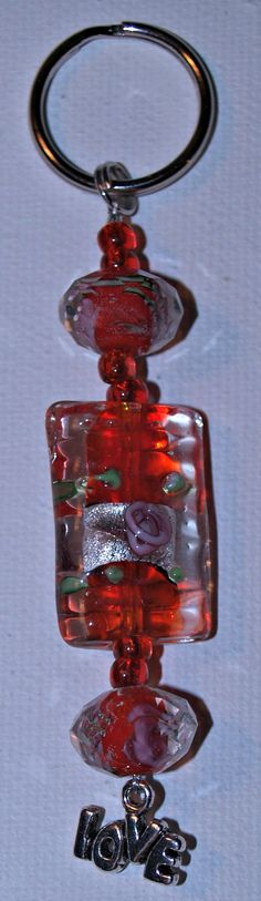 Beaded Keychain with Love Charm by noner on Etsy, $5.00