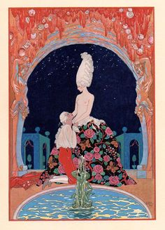 In the Grotto by George Barbier in Les Fêtes Galantes de Paul Verlaine, illustrations de George Barbier