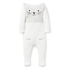 100% Cotton 1x1 rib Jumpsuit. Long sleeve jumpsuit with feet. Features novelty printed cat face on front panel with applique ears and paw pockets. Regular fitting silhouette with snaps down centre back and gusset for easy dressing. Available in Canvas.