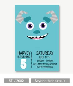 Personalised Monsters Inc Sully Invitations.  Printed on Professional 300 GSM smooth card with free envelopes & delivery as standard. www.beyondtheink.co.uk