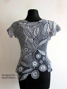 Gray Crochet Top Freeform Crochet Lace Blouse Top Irish