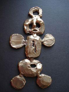 MAF Bronze Fabrication of  Cartoon Man, Abstract Wall Sculpture Unique Original, www.springgallerymaine.com,www.modernartfoundry.com