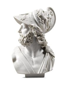 A carved white marble bust of Menelaus, Italian, 19th century, after the Antique   lot   Sotheby's