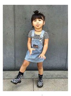 little girls fashion | denim overalls dress, black and white stripe shirt, black choker necklace, kids, toddler style, summer #BlackKidsFashion #KidsFashionToddler
