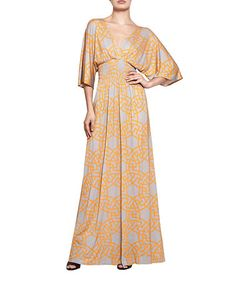 Loving this Gray & Orange Geometric Deep-V Maxi Dress on #zulily! #zulilyfinds