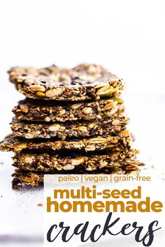 These healthy crackers are a tasty homemade snack, and with 4 types of seeds, they're full of nutritional benefits, too! No flour or nuts means this Multi-seed Homemade Cracker recipe is grain-free, paleo, and vegan.