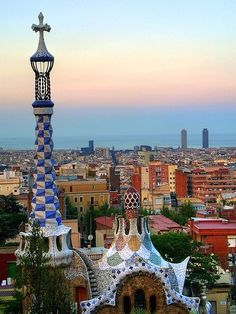 View of Barcelona from Gaudi's Parc Guell. Barcelona, Spain