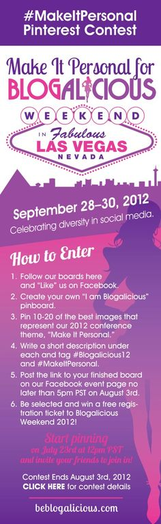Win a free conference pass by creating your own Blogalicious board #MakeItPersonal  - - Contest ends 8/3