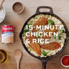 We know you're busy so we've created this family-friendly chicken and rice recipe just for you. It's got chicken broccoli and rice in a creamy sauce and it's on the table in a snap. Rice Recipes For Dinner, Soup Recipes, Chicken Recipes, Cooking Recipes, Healthy Recipes, Quick Meals For Dinner, Minute Rice Recipes, Skillet Recipes, Cooking Tools