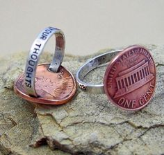 """Since our penny is going to be gone it would be a lovely idea perhaps two joined together showing front and back....I love the saying on the bottom """"For Your Thoughts"""""""
