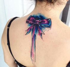 Water colour bow tattoo