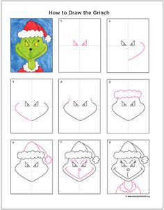 Art Projects for Kids: How to Draw the Grinch. Describe what the Grinch is like and if you have ever felt like a Grinch. Christmas Art Projects, Christmas Activities, Holiday Crafts, Easy Christmas Drawings, 2nd Grade Christmas Crafts, Spring Crafts, Grinch Christmas, Kids Christmas, Xmas