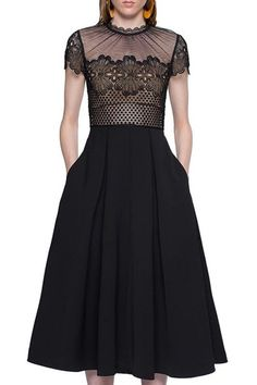 Sexy Round Collar See-Through Hollow Out Lace Spliced Black Midi Dress For Women