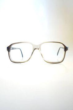 0ae08c9e7ef Mens Vintage Boxy Eyeglasses - 1960s Mens Horn Rim Glasses - Brille with  Gray Fade - Clear Eyeglasses