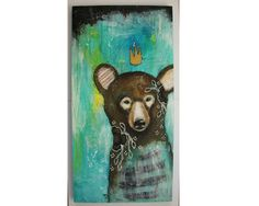 Original Bear painting whimsical boho mixed by thesecrethermit