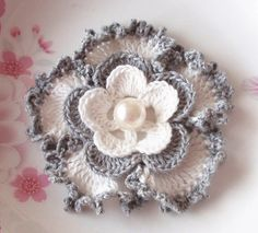 Crochet Flower in 3.5 inches in Off White, Gray