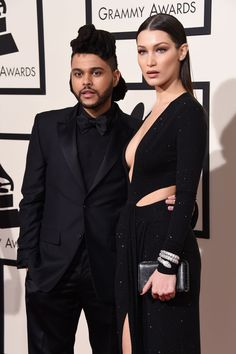 The Weeknd and Bella Hadid arrive at the 58th Annual GRAMMY Awards on Feb. 15 in Los Angeles