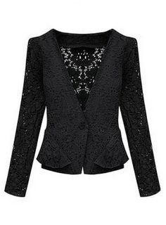 """Black Long Sleeve Hollow Lace Crop Jacket US$30.82 Great with the Black Baby Doll Chiffon Dress! """"Sheinside"""""""