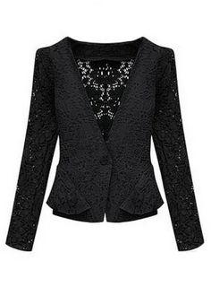 Black Long Sleeve Hollow Lace Crop Jacket
