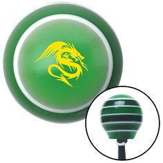 Yellow Dragon Green Stripe Shift Knob with M16 x 15 Insert - Give your interior the ultimate look. American Shifter's Elite(TM) series shift knobs are made from the highest quality components resulting in a superior feel on every shift. Each shift knob is designed and customized in the USA by skilled shift knob artisans who have a trained eye on every detail. American Shifters shift knobs offers an exclusive aluminum threaded insert designed to be screwed onto your shift arm. You should…