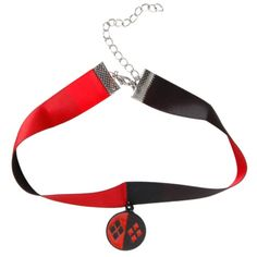 DC Comics Harley Quinn Choker | Hot Topic ($8.50) ❤ liked on Polyvore featuring jewelry, necklaces, chokers, harley quinn, red black necklace, pendant choker, red jewelry, black jewelry and circle necklace