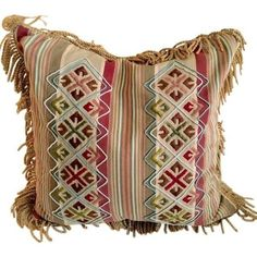 Large Bohemian Aztec & Striped Pillow with Trim ($85) ❤ liked on Polyvore featuring home, home decor, throw pillows and pillows